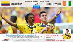 ... #Fifa #Worldcup #Football 2014 #Brazil... #PriceBlaze celebrates it!..  #Colombia has made it to last 16 by defeating #CoteDIvoire 2-1...  Interesting competition carried out between both the teams.. Intensely Colombia came out with a rewarding victory as they got through for further rounds in worldcup..!!