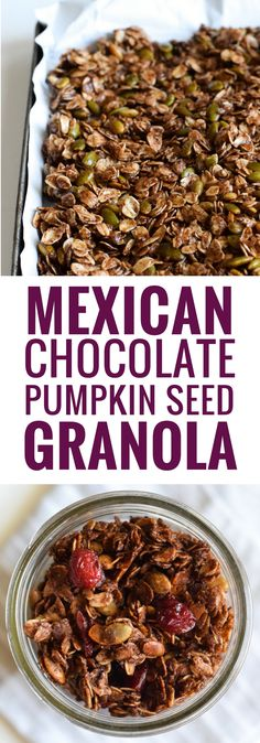 Made with wholesome rolled oats, Abuelita Mexican chocolate, pumpkin seeds and dried cranberries, this Mexican Chocolate Pumpkin Seed Granola is a delicious breakfast or snack any time of the day! (gl (Pumpkin Breakfast Recipes)
