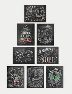 Assorted Boxed Set Of 8 Christmas Cards 2 - Chalkboard Cards - Christmas Note Card Set - Christmas Chalkboard
