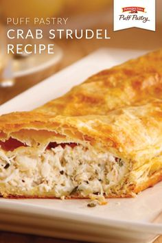 Crab Strudel – Puff Pastry Looking for the perfect appetizer recipe to serve at your next dinner party? Check out this Crab Strudel. Made with Pepperidge Farm®️️ Puff Pastry Sheets, this seafood dish is rich, creamy, and loaded with cheese. Appetizers For A Crowd, Seafood Appetizers, Appetizer Recipes, Crab Appetizer, Strudel Recipes, Puff Pastry Recipes, Puff Pastries, Pastries Recipes, Fish Dishes
