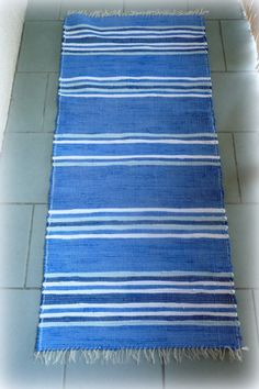 Lines on blue rag rug by mimamartina on Etsy
