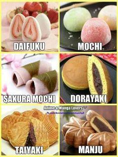 Japanese sweets I've tried Mochi, and Dorayaki 🥰 Japanese Pastries, Japanese Snacks, Japanese Sweets, Japanese Deserts, Japanese Food List, Japanese Buns, Japanese Street Food, Japanese Cake, Japanese Dishes