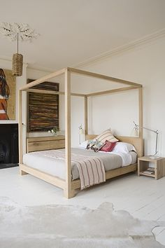 Four Poster Bedroom Furniture A Very Simple Elegant Four Poster Bed for Similar Linen Bedroom, Home Bedroom, Bedroom Decor, Master Bedroom, Bedrooms, Timber Furniture, Modern Bedroom Furniture, Furniture Design, Four Poster Bedroom