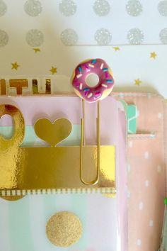 Donut Double Sided Paperclip, Kawaii Planner Clip, Cute Cabochon Bookmark, Filofax, kikki.K, Fauxdori Accessory