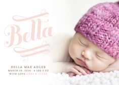 Birth announcements - Bella photo card by Jody Wody. Script, swirls, pretty.