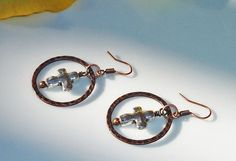 Hammered Antiqued Copper Hoop and Silver Plated by JewelrybyJacobe