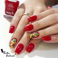 Cute And Highly Fashionable Nail Art Ideas Cute Nail Art Designs, Toe Nail Designs, Red Acrylic Nails, Red Nails, Punk Nails, Cruise Nails, Nails & Co, Types Of Nails, Fabulous Nails