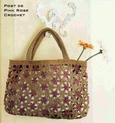 Bolsa+de+Croche+Chain+Flowers+.PRoseCrochet.JPG 544×586 píxeles