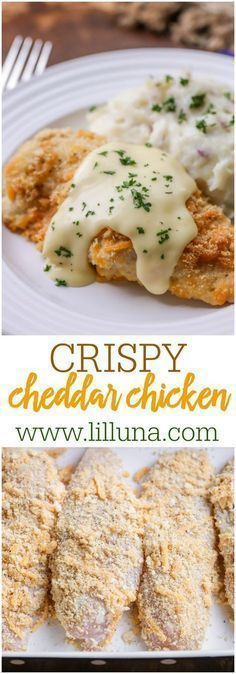 Crispy Cheddar Chicken - Baked chicken coated in sour cream, cheese and ritz cracker crumbs and topped with a delicious, creamy sauce - it's our new go-to dinner recipe!