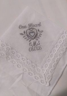 Flower Girl LACE Heirloom Personalized Wedding Handkerchief Message 2 Custom  Embroidered