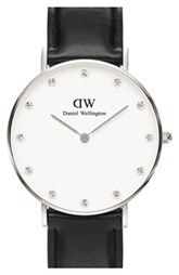 Daniel Wellington 'Classy Sheffield' Crystal Index Leather Strap Watch, 34mm