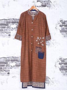 Shop Brown cotton kurti for festive online from India. Tunic Designs, Kurta Designs, Stylish Dress Designs, Stylish Dresses, Designer Kurtis Online, Stylish Kurtis, Punjabi Dress, Smart Dress, Pakistani Outfits