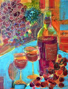 Wine Art Collage Painting Original Modern Art Wine Bottles Grapes Wine Glasses FREE Shipping- 11x14 - by Filomena Booth