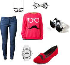 """""""Polyvore mustache outfit"""" by gladem2 on Polyvore"""