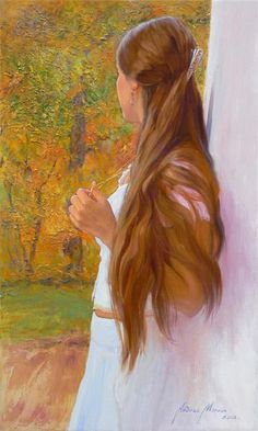 Pinned it for the art, painter not ascribed as it was used in an article.  Signature is there, needs to be magnified. A woman's glory is in her hair and this painting is beautiful in showing such long brown hair.  I think it was Stephen Foster who wrote the song: Jennie with the light brown hair.