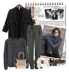"""""""Black Loose Knit Sweater"""" by autumn-soul ❤ liked on Polyvore featuring Garance Doré, Glamorous, Off-White, CÉLINE, women's clothing, women, female, woman, misses and juniors"""