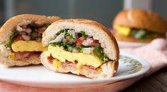 Hollow Hard Roll Breakfast Sandwich: The best way to make a breakfast sandwich is to ditch most of the bread and stuff it full of all kinds of goodies. This is my new favorite thing.