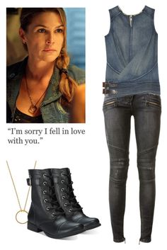 Abby Griffin - The 100 by shadyannon on Polyvore featuring polyvore fashion style Junya Watanabe Balmain American Rag Cie Wanderlust + Co clothing