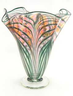 Hand Blown Art Glass Vase - Peach and Pink - Fluted