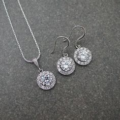 Halo Style Cubic Zirconia with pave surrounding Bridal Jewelry Set - Earrings Nation