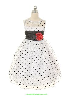 White / Black Lovely Organza Polka Dots Flower Girl Dress