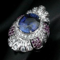 GORGEOUS AAA KASHMIR BLUE SAPPHIRE MAIN STONE 7.40 CT.RUBY 925 SILVER RING SZ 7 #Handmade #Cocktail #ValentinesDay