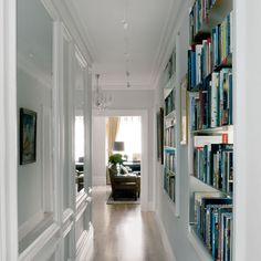 book shelves in hallway