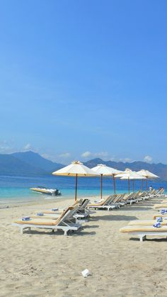 White sandy beaches, with views of Lombok's mountains