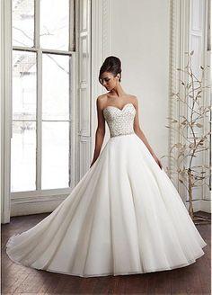 Elegant Organza Satin Sweetheart Neckline Natural Waistline Ball Gown Wedding Dress With Beadings