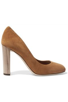 Jimmy Choo's 'Laria' pumps are set on a chunky wooden heel to give plenty of height while also feeling comfortable. They are crafted from tan suede and have a classic round-toe silhouette. We like them best styled with flared denim.