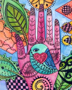 doing a Hamsa Hand mosaics now! Doodle Drawings, Doodle Art, Bird Doodle, Zen Doodle, Hand Kunst, Wal Art, Mandala, Yellow Art, Doodles Zentangles