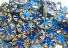 10 Cobalt Blue with Picasso Chunky Carved Czech Glass Coin Beads 18mm