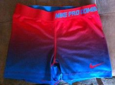 Red, purple, and blue ombre Nike Pro spandex Volleyball Spandex, Nike Pro Spandex, Nike Pro Shorts, Spandex Shorts, Gym Shorts Womens, Boy Shorts, Sporty Outfits, Nike Outfits, Athletic Outfits