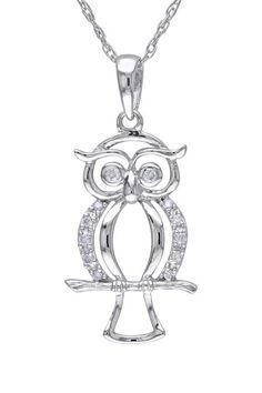 10K White Gold Diamond Owl Pendant Necklace - 0.05 ctw by Delmar on @HauteLook