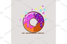 Donut delicious with sprinkles on background. by verkelis on @creativemarket