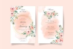 Soft pink wedding invitation and menu te... | Premium Vector #Freepik #vector #frame #wedding #watercolor #wedding-invitation