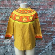 Vintage Ljungberg for Kjell Mustard Yellow Tunic with Wide Embroidery Tape