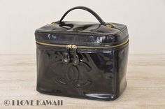 CHANEL CC Logo Black Leather Patent Leather Vanity Cosmetic Bag