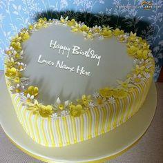Write name on Vanilla Birthday Cake For Lover - Happy Birthday Wishes Birthday Cake Write Name, Heart Birthday Cake, Birthday Wishes Cake, Cake Name, Happy Birthday Cakes, Birthday Greetings, Happy Birthday Cake Pictures, Birthday Wishes For Kids, Beautiful Birthday Cakes