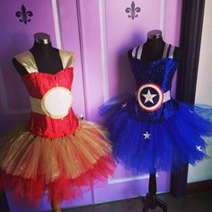 Iron Man and Captain America adult size, custom made tutu dresses. Starting at $135, exclusively at Layla's Loft, find us on Facebook or www.tutudressessanantoniotx.com/