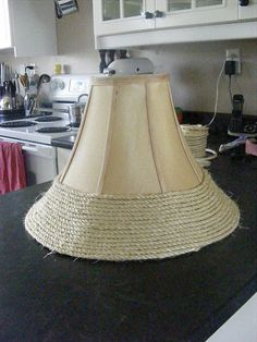 Nautitical Inspired Lampshade quick natural update to a lamp shade or lampquick natural update to a lamp shade or lamp Nautical Lamp Shades, Nautical Lamps, Recover Lamp Shades, Floor Lamp Shades, Floor Lamps, Coastal Decor, Diy Home Decor, Coastal Curtains, Coastal Entryway