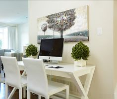 """What a beautiful way to set up a desk!  Shown with Benjamin Moore """"Tapestry Beige"""""""