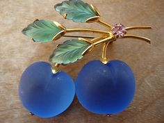 Austria Fruit Frosted Glass Blue Cherry/Apple Brooch