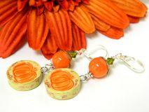 Orange Ceramic #Pumpkin #Earrings Short Fall Silver Holiday Handmade - Blonde Peach Jewelry @stroncalli