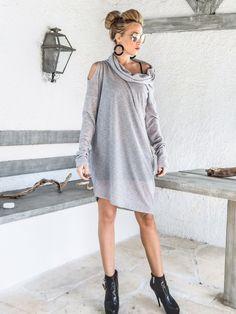Gris tricoté Semi Transparent robe  chemisier  Tunique /