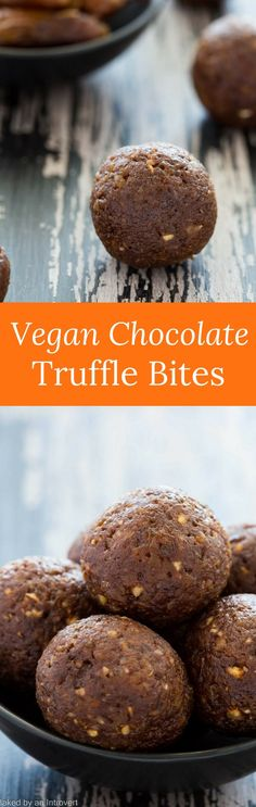Instead of grabbing a cup of coffee, tea or soda, a couple of these Vegan Chocolate Truffle Bites will give you a boost instead. via @introvertbaker