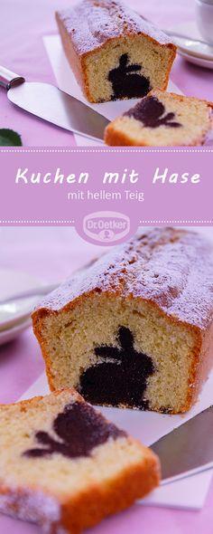 Kuchen mit Hase: Kastenkuchen mit Schokohasen im hellen Teig