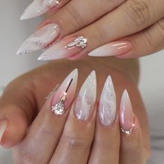 Ombre/BabyBoomer Acrylic Full Set with a touch of Marble Nail Art and Swarovski Crystals #nailsbyanahi