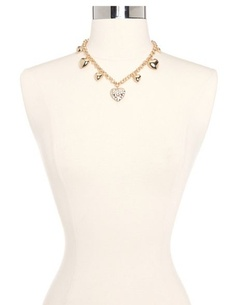 Rhinestone Heart Chain Link Necklace: Charlotte Russe
