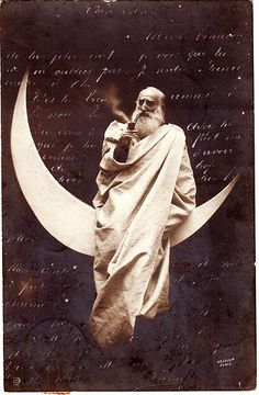 God smoking on the moon ~ vintage postcard from Belgium. To Mademoiselle Maria Dupuis.